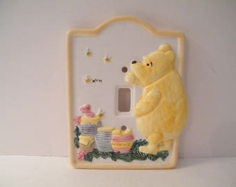 Winnie the Pooh Light Switch Cover vintage porcelain with Pooh Bear and hunny pots, from Disney designer Charpente, 6.25 x 5, child room
