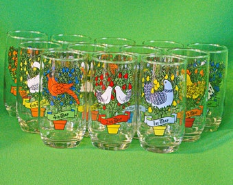 Complete Set Of Vintage Anchor Hocking 12 Days Of Christmas Tumblers With Box
