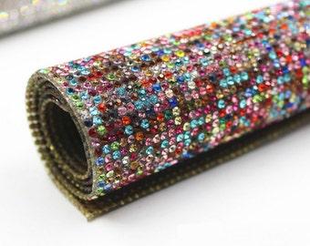 Rainbow - Glass Rhinestones Hot fix or  Self Adhesive Applique  / Sticker Sheet 2mm ( SS8 )
