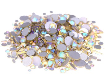 AB Light Yellow --  Crystal Glass Rhinestones Flatback High Quality no hotfix  Wholesale Pack Lot -- SS4-SS30 Choose your size