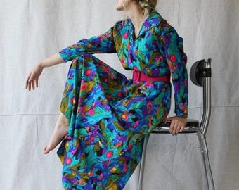 FABULOUS 50% Off SALE 1960- 70's Abstract Peacock Print Maxi-House Dress/ Robe with Matching Sash by Ter - She