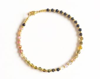 Multicoloured Tourmaline and Gold Semi Precious Bracelet //Tourmaline bracelet //gifts for her //Gemstone bracelet //Rainbow gemstone //gold