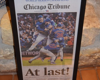Chicago Cubs 2016 World Series Champions Custom framed original newspaper rustic solid cedar complete paper mounted Chicago Tribune