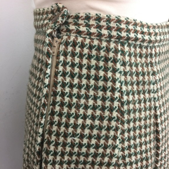1950s skirt green tan cream tweed checkered wool UK 10 high waist Wartime handmade WW2 straight separates 50s 40s Mod 1960s skirt