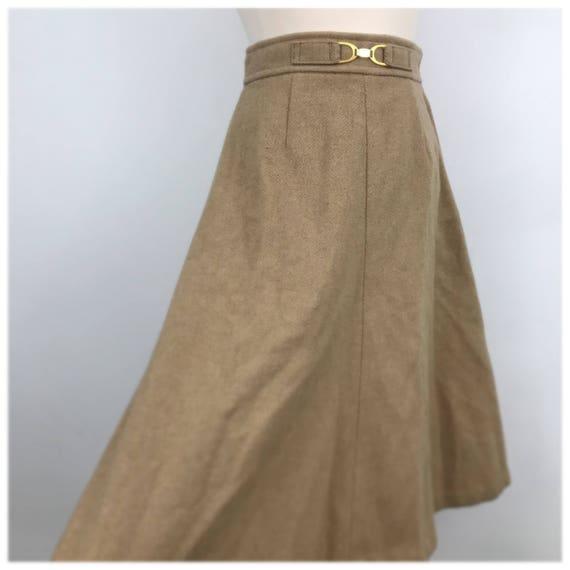 Vintage skirt canel wool A line flared high waist UK 10 US 6 1970s gold waist buckle detail