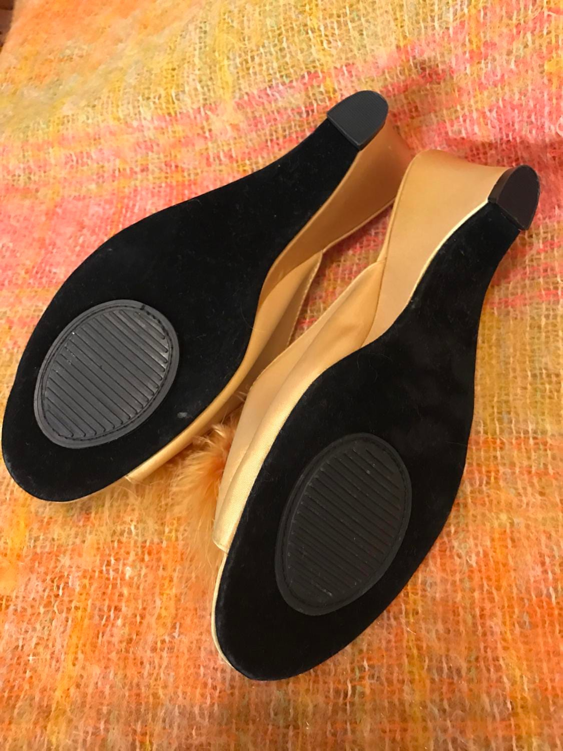 Vintage Slippers Gold Marabou Feather Budoir Mules Wedge