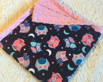 "Pink and Navy Owl Minky Dot blanket. (30x30""). Turquoise blue cuddle baby girl blanket"