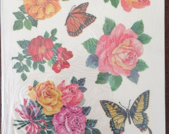 Vintage Roses Butterflies Decals, window decals, Debernay artwork, mirror decals, furniture decals, vintage decals, decorating decals