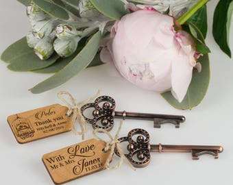 50 x Rustic Key Bottle Openers with Wooden Engraved Gift Tags