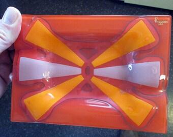 Higgins Glass tray ORANGE mod starbust