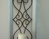 FRAMED CANDLE SCONCE  Single .  Chrome Metallic Hand painted Wood Frame . Iron Metal Scrollwork . Holder flips Up . Use flameless Candles