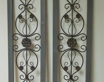WALL ART SHUTTERS   Set of 2 incl in price . Wood and Metal . Fleur de lis .   Wall Decor .  Window and door toppers . Set in window