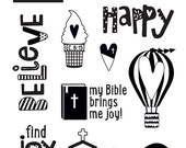 Illustrated Faith - Delight in His Day - Clear Stamps - 12 pieces - 1493