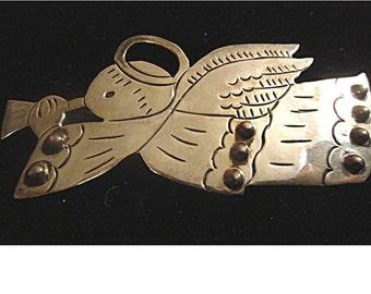 Adorable Mexico Silver Folk Art ANGEL Pin Brooch (1438)
