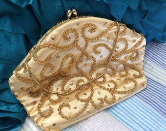 Gold Satin Beaded Evening Bag