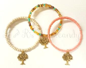 Memory Wire Bracelet, Tree of Life Beaded Bracelet, Beaded Coil Bracelet, Handmade, Beaded Jewelry, Women's Bracelet