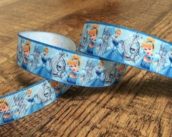 5 yards 7/8 cinderella ribbon, Cinderella ribbon, Cinderella hairbows, grosgrain ribbon, craft, crafting, sewing, princess, glass slipper