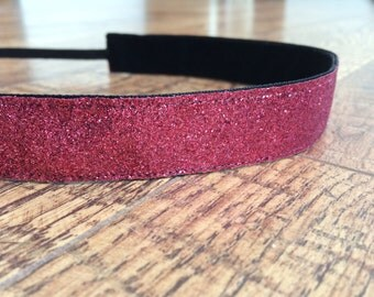 Pink sparkle headband. Pink glitter headband, magenta sparkle headband, glitter headband, running headband, girls headband, hair accessory
