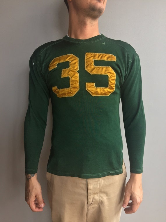 1950s Green Sports Jersey with Yellow 35 raglan and elbow patch detail