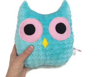 PROMO plush OWL aqua and pink minky and wool felt, kids gift, birthday gift