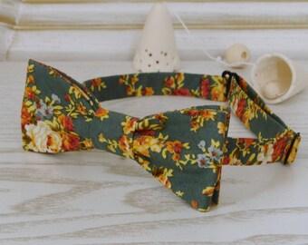 Wedding bow tie Floral Teal Meadow    Groomsmen Bowtie   Orange Floral Printed Bow Tie Wedding Bowties FREE GIFT