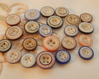 Double Ring Pie Crust Antique China Buttons - 22