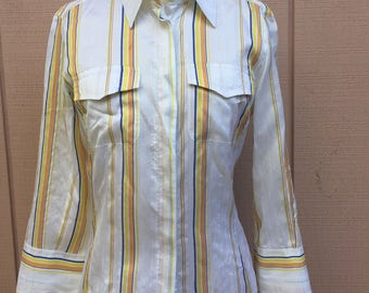 100% Silk stripe Shirt. MADE in ITALY. 3/4 Sleeves. Size 6/8.