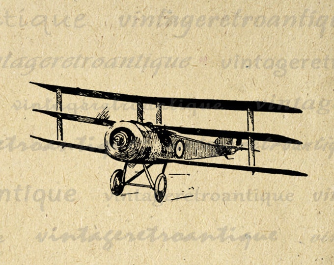 Digital Plane Clipart Graphic Vintage Airplane Art Download Triplane Biplane Image Antique Printable Clip Art Jpg Png Eps HQ 300dpi No.127