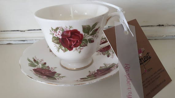 Tea cup candle. Scented soy wax vegan vintage tea cup candle, scented with raspberry. Vegan candles. Organic Eco soy. Made in Wales
