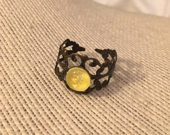 8mm Yellow Filigree Adjustable Ring