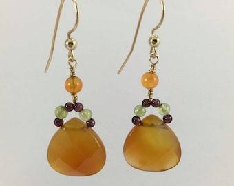 Carnelian Earrings, Orange Earrings, Boho Earrings, Carnelian Jewellery, Gifts for Her, 14ct Gold Filled Earrings, Orange Carnelian