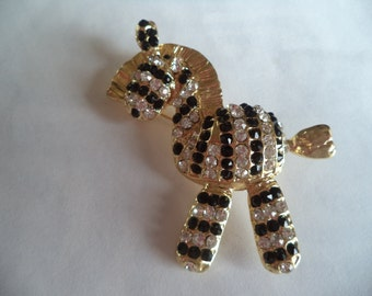 Vintage Unsigned  Goldtone/Black/Clear Rhinestone Zebra Brooch/Pin