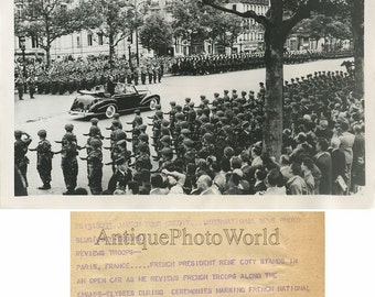 France President R. Coty reviewing troops vintage photo