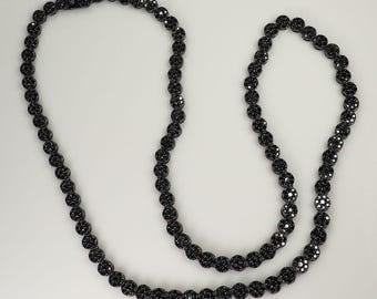 Gorgeous vintage sparkling gothic black crystals long necklace