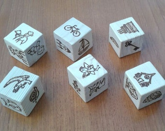 Story Cubes - six wooden picture cubes for story telling