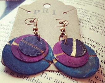 Painted Metal Planetary Disc Earrings