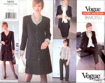 1996 Vintage 1825 Vogue Sewing Pattern TAMOTSU Career Wardrobe- American Designer Original-  jacket, dress, top, skirt & pants Size 18 20 22