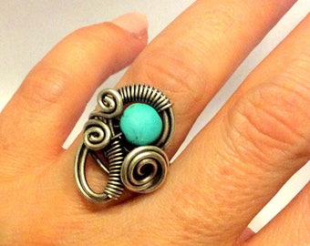 turquoise ring - turquoise jewelry - wire wrapped ring - wire wrapped jewelry handmade - adjustable ring - silver ring