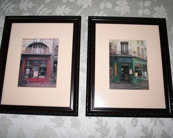 Chiu Tak Hak set of two matted and framed prints - Antoinette and Cafe Bar masculine and sophisticated - new matte glass