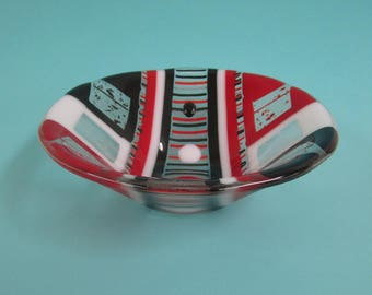 Red, Black and White Fused Glass Bowl