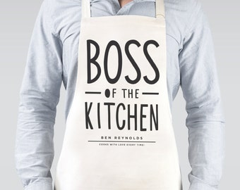 Boss of The Kitchen Apron - personalised apron - baking gift - personalised baking apron - personalised kitchen gift - gift for him
