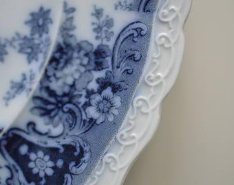 "Flow Blue Plate 10"" Corea Wedgewood 1890s"