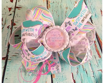 Play With The Fairies, Swim With The Mermaids, & Ride Unicorns Hair Bow, Baby Girl Hair Bow, Hair Accessory