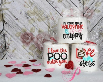 Embroidered Toilet Paper, Valentine's Day Gift, Gag Gift, Embroidered Toilet Paper, Valentine's Day Toilet Paper