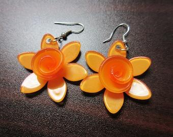 Lucite Orange Flower Earrings