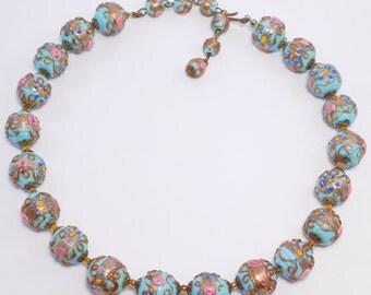 Baby Blue Italian Wedding Cake Venetian Glass Beads Necklace