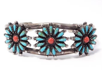 Sterling Petit Point Turquoise & Coral Southwest Cuff Bracelet