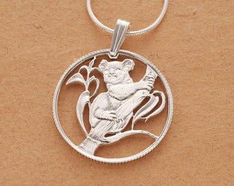"Sterling Silver Koala Bear Pendant and Necklace, Hand Cut Australian Koala Bear Coin Pendant, 7/8"" in Diameter, ( # 392S )"