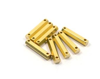 5 Pcs. Solid Brass 4x20 mm Hexagon Bar Pendants 2Hole