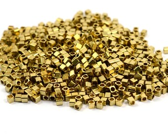 500 Pcs. Raw Brass 2x2 mm Solid Cube Geometric Bead Findings